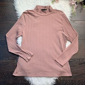 Missguided Pink Striped Turtle Neck Top